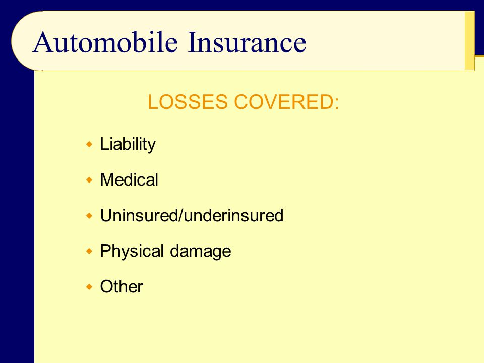 Automobile Insurance LOSSES COVERED: Liability Medical