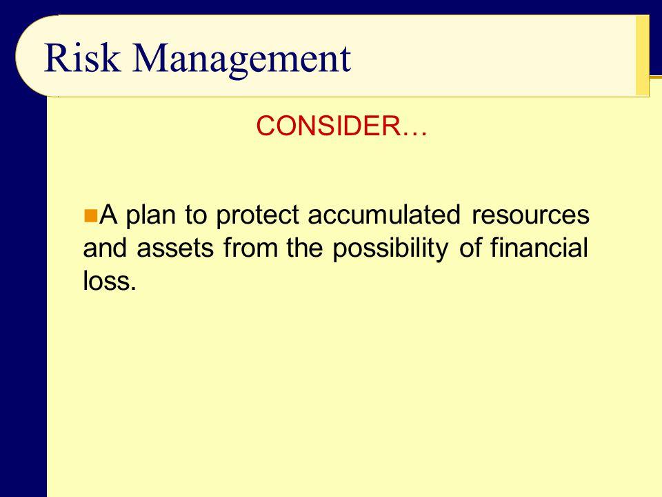 Risk Management CONSIDER…