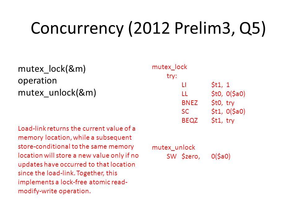 Concurrency (2012 Prelim3, Q5)