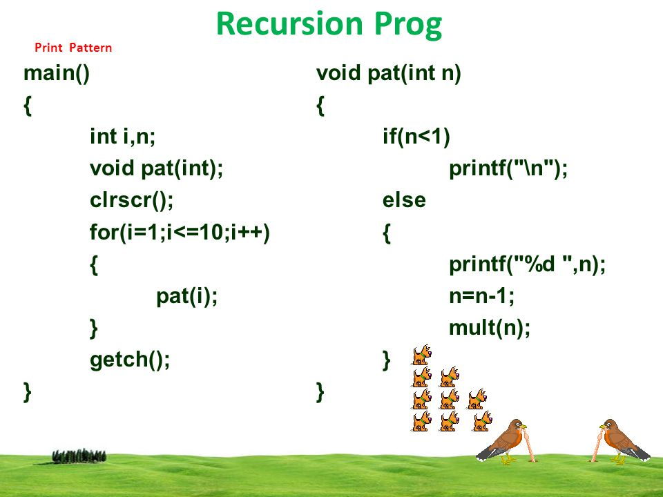 Recursion Prog main() { int i,n; void pat(int); clrscr();