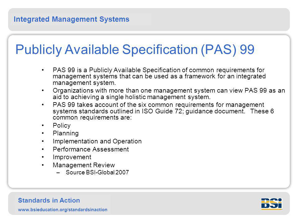 Publicly Available Specification (PAS) 99
