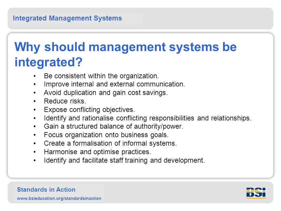 Why should management systems be integrated