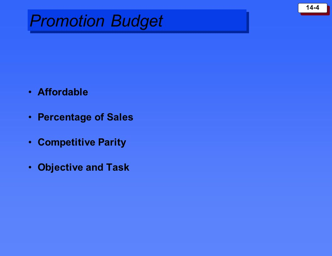 Promotion Budget Affordable Percentage of Sales Competitive Parity