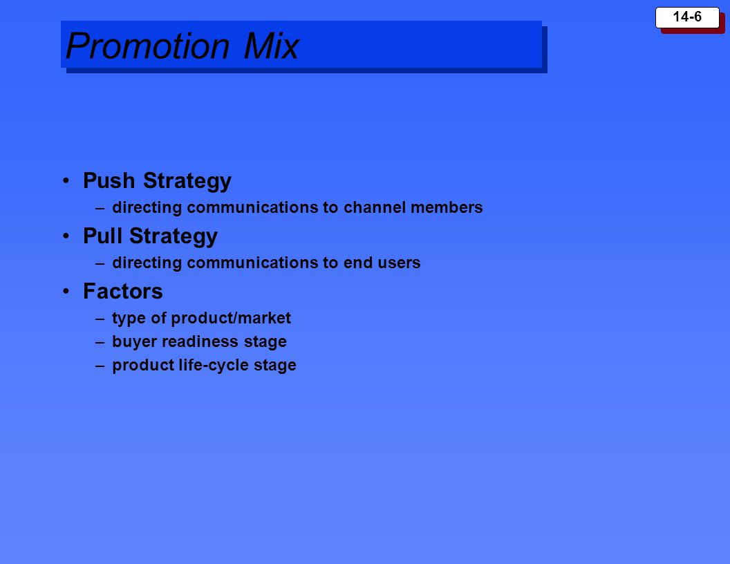 Promotion Mix Push Strategy Pull Strategy Factors