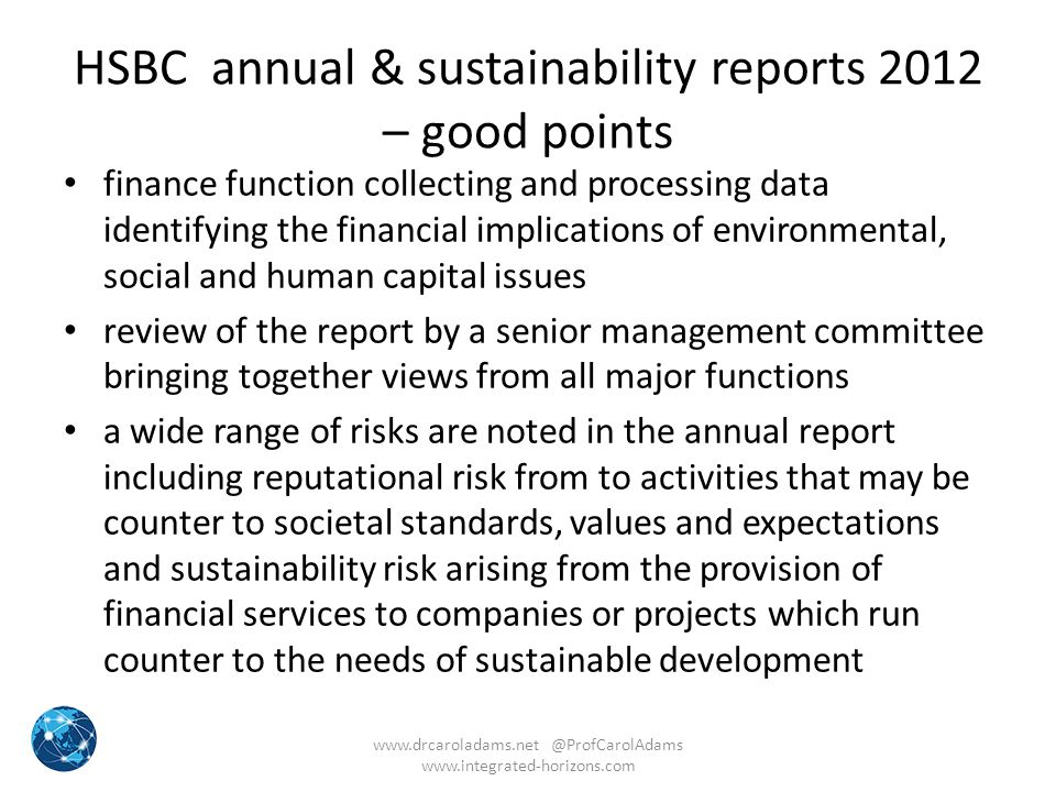 HSBC annual & sustainability reports 2012 – good points