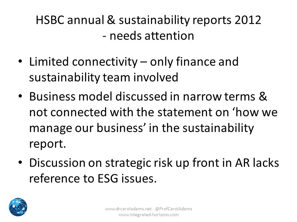 HSBC annual & sustainability reports needs attention