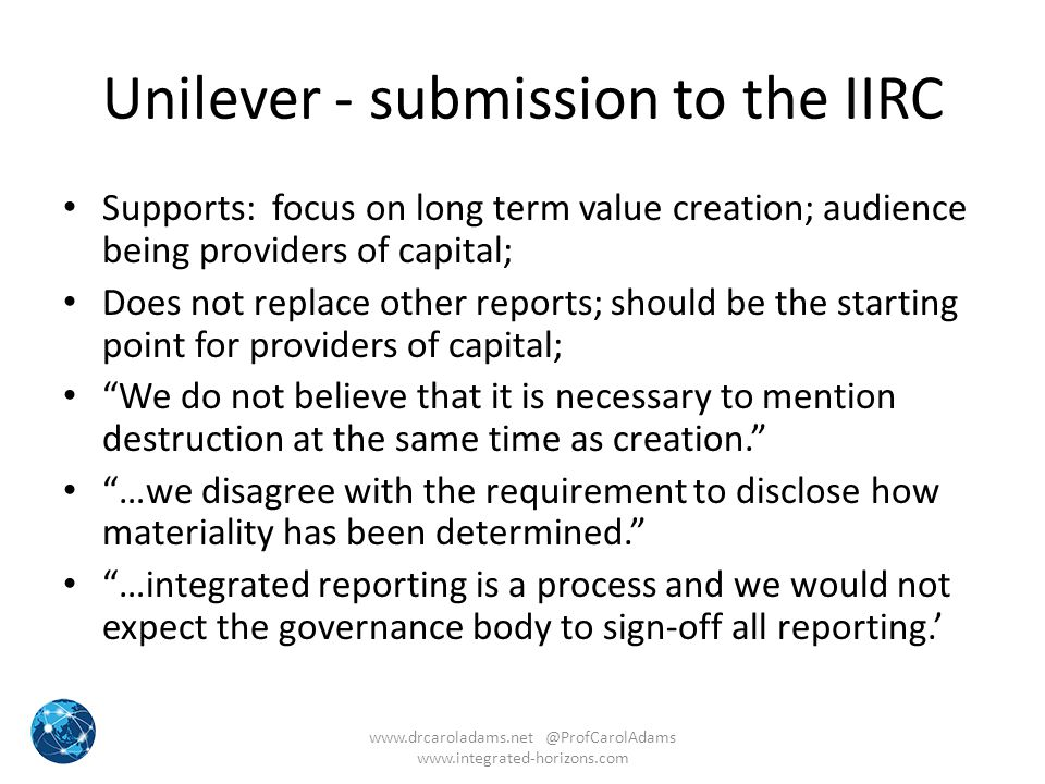 Unilever - submission to the IIRC