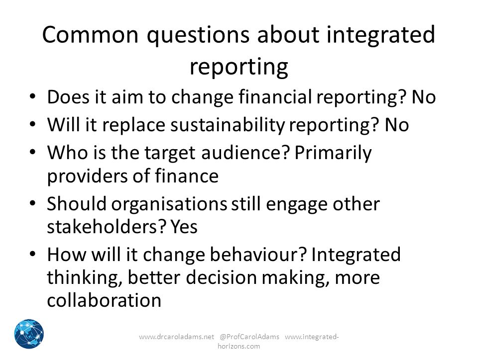 Common questions about integrated reporting