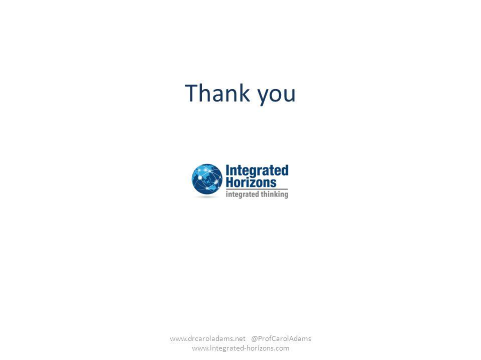 www.drcaroladams.net @ProfCarolAdams www.integrated-horizons.com
