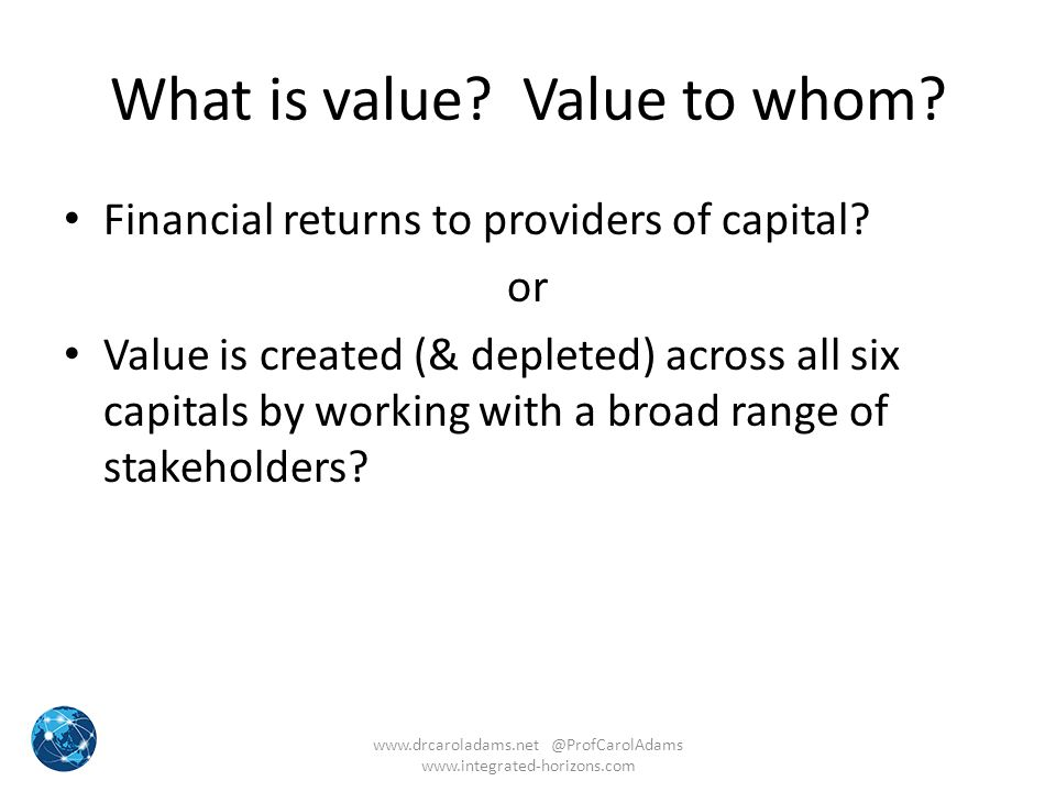 What is value Value to whom