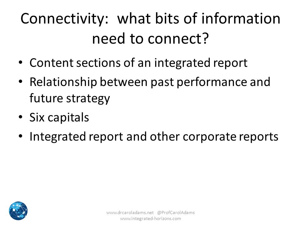 Connectivity: what bits of information need to connect