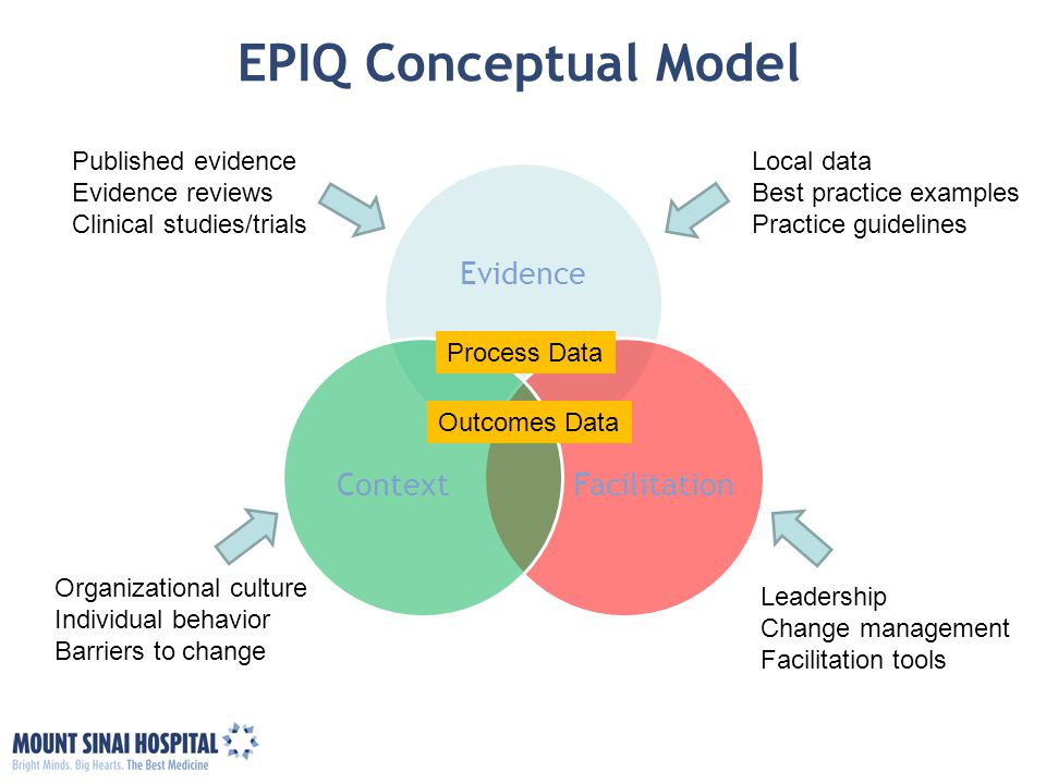 EPIQ Conceptual Model Evidence Facilitation Context Published evidence