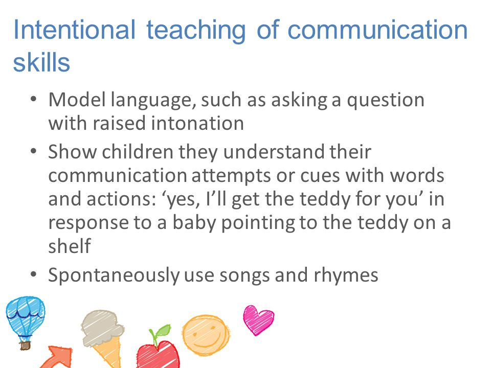 Intentional teaching of communication skills