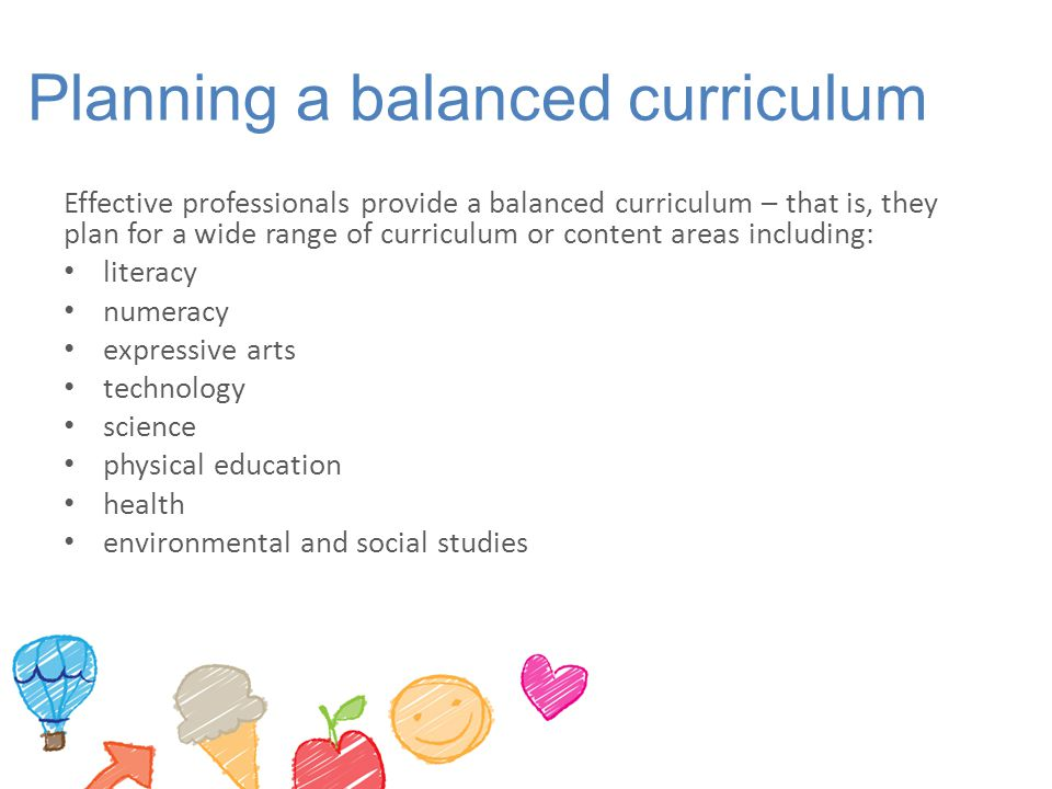 Planning a balanced curriculum