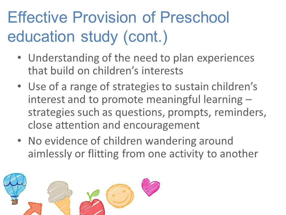 Effective Provision of Preschool education study (cont.)