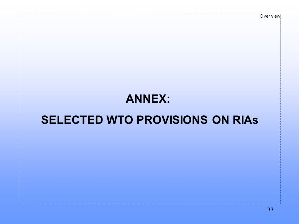 SELECTED WTO PROVISIONS ON RIAs