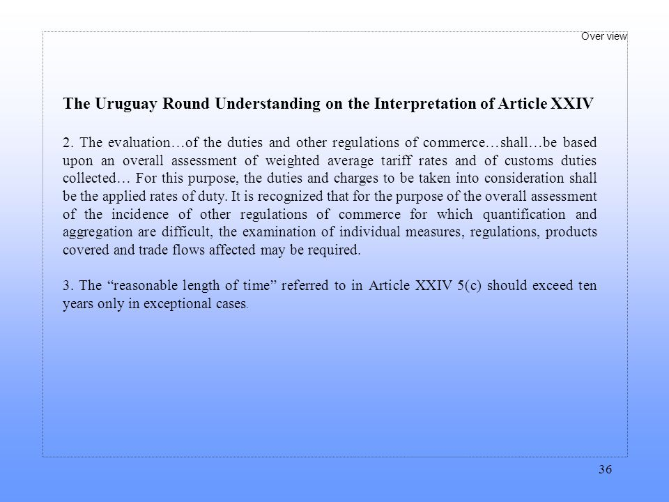 The Uruguay Round Understanding on the Interpretation of Article XXIV