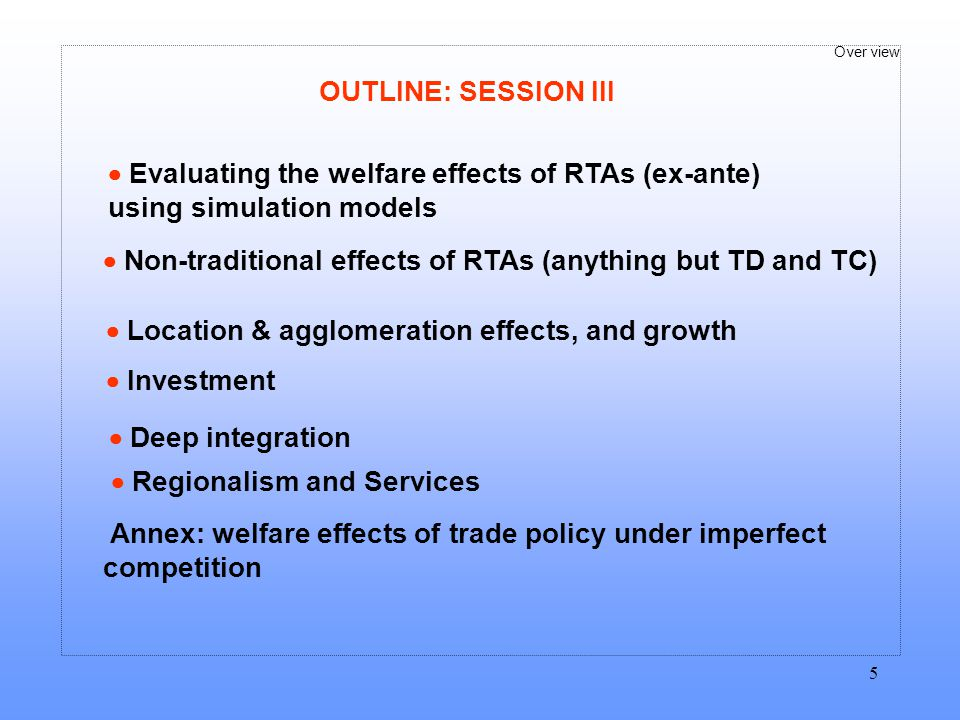 OUTLINE: SESSION III  Evaluating the welfare effects of RTAs (ex-ante) using simulation models.