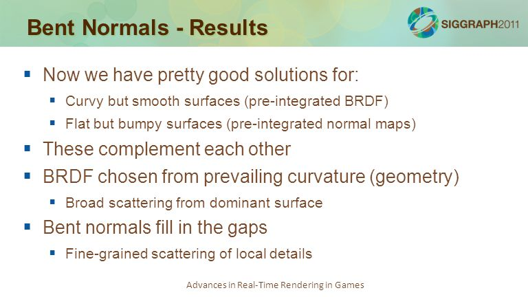 Bent Normals - Results Now we have pretty good solutions for: