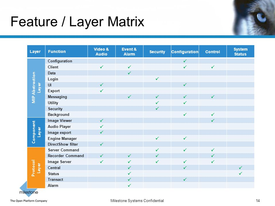 Feature / Layer Matrix  MIP Abstraction Layer Component Layer