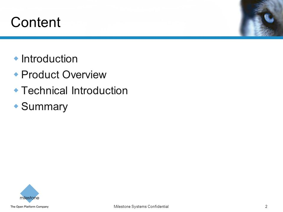 Content Introduction Product Overview Technical Introduction Summary