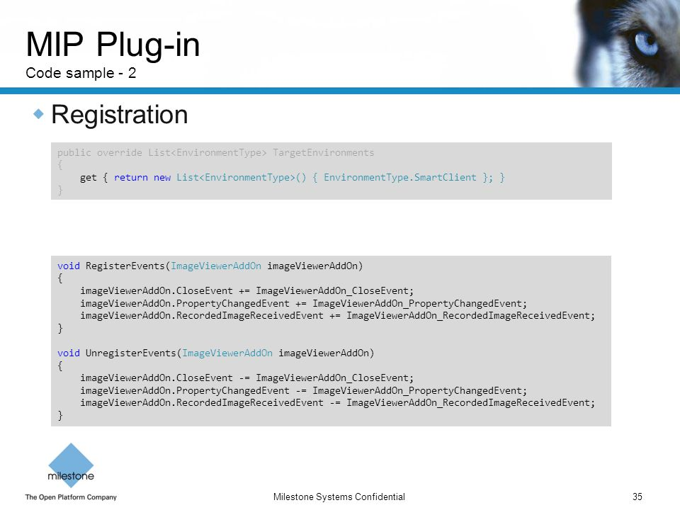 MIP Plug-in Code sample - 2