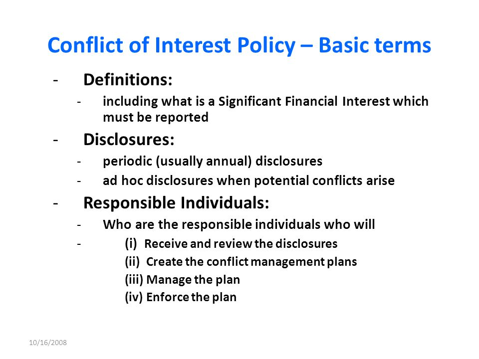 Conflict of Interest Policy – Basic terms