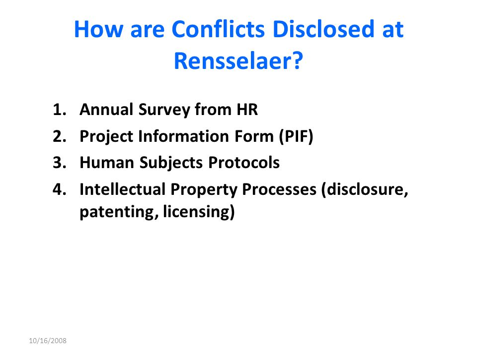 How are Conflicts Disclosed at Rensselaer