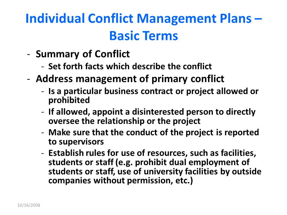 Individual Conflict Management Plans – Basic Terms