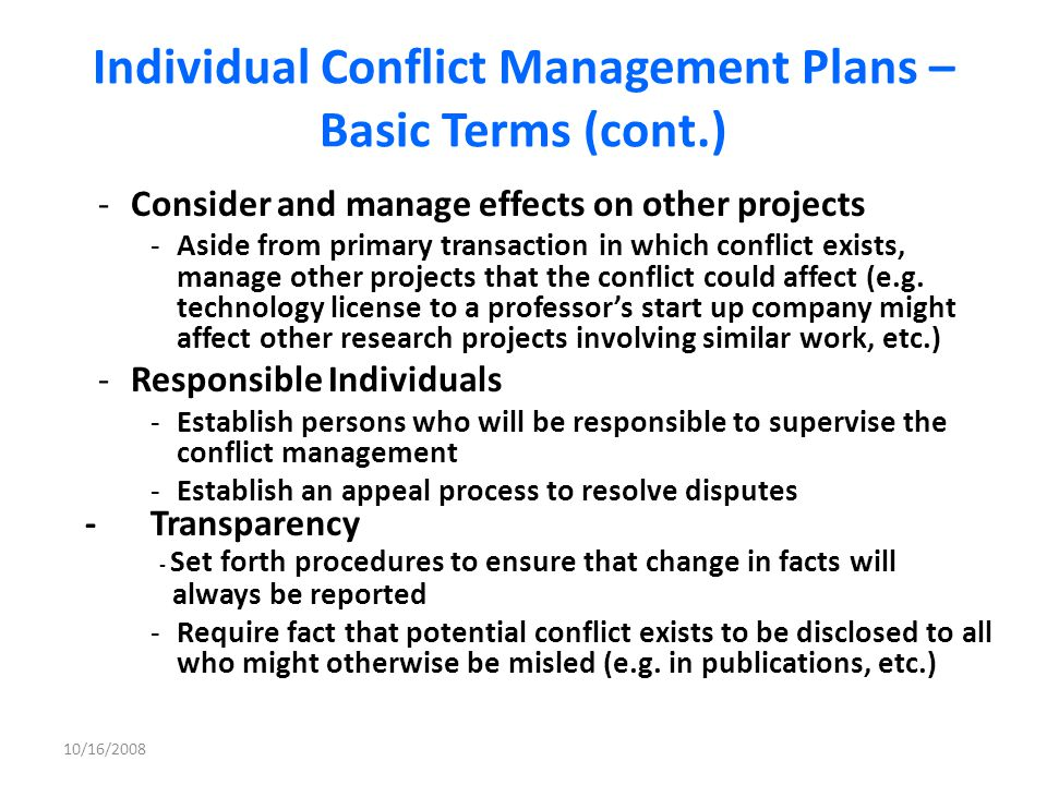 Individual Conflict Management Plans – Basic Terms (cont.)