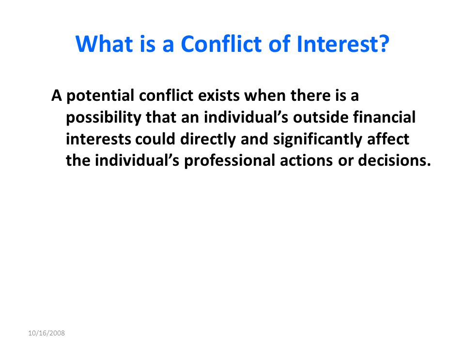 What is a Conflict of Interest