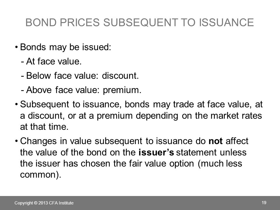 Bond Prices Subsequent to Issuance