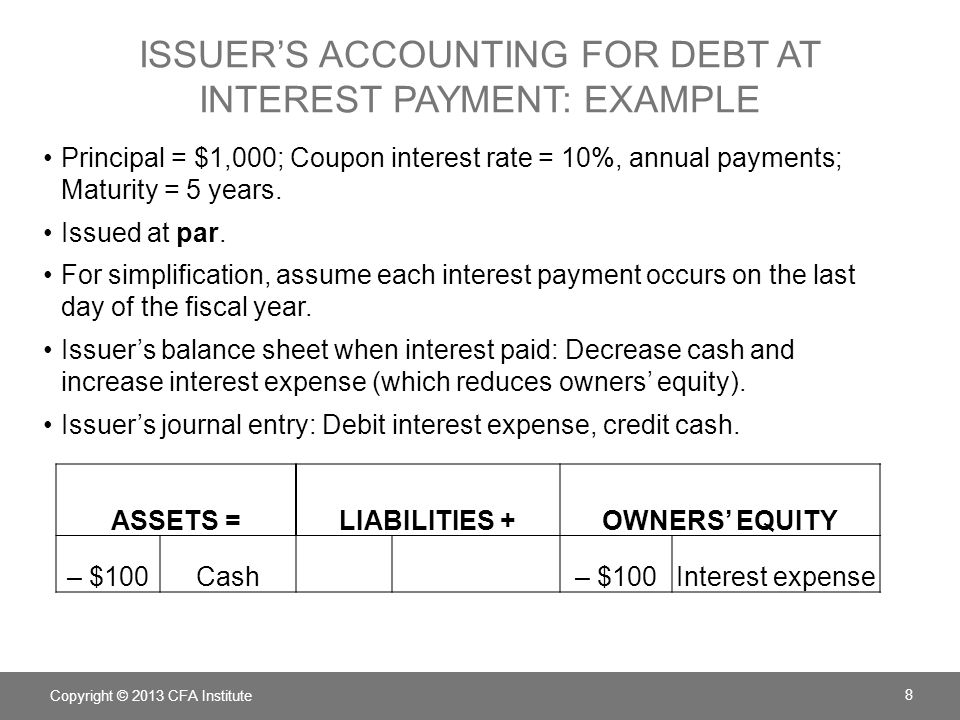 Issuer's Accounting for debt at interest payment: example