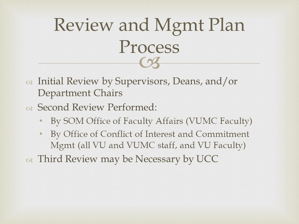 Review and Mgmt Plan Process