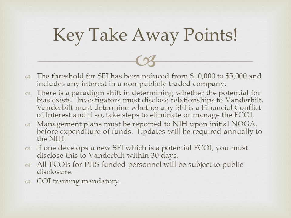 Key Take Away Points! The threshold for SFI has been reduced from $10,000 to $5,000 and includes any interest in a non-publicly traded company.