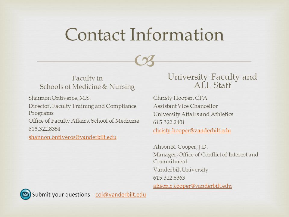 Contact Information Faculty in. Schools of Medicine & Nursing. University Faculty and ALL Staff.