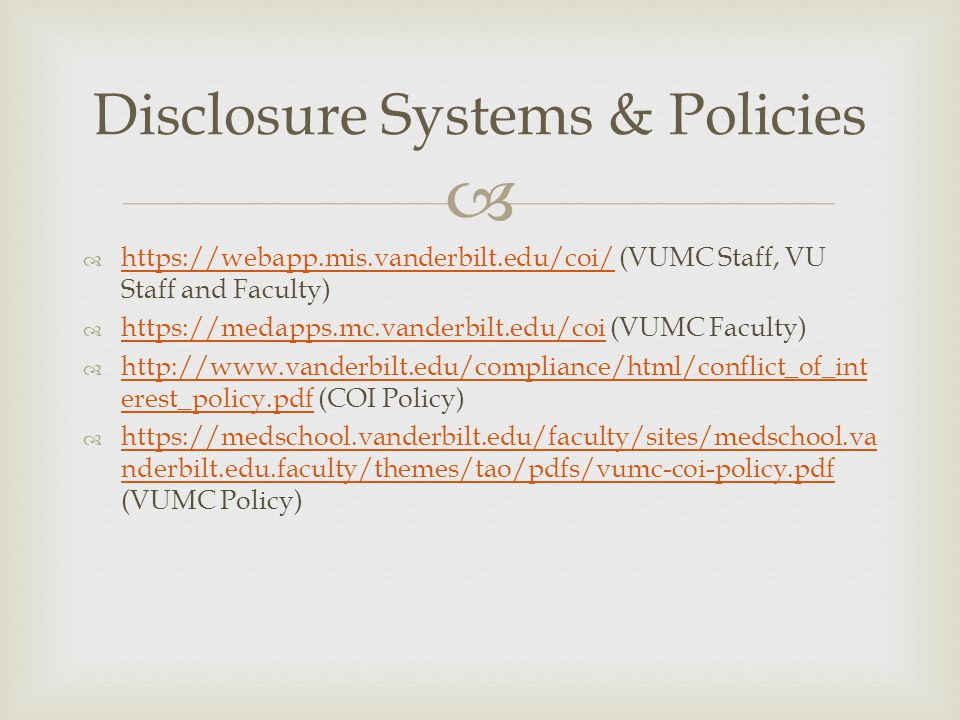 Disclosure Systems & Policies