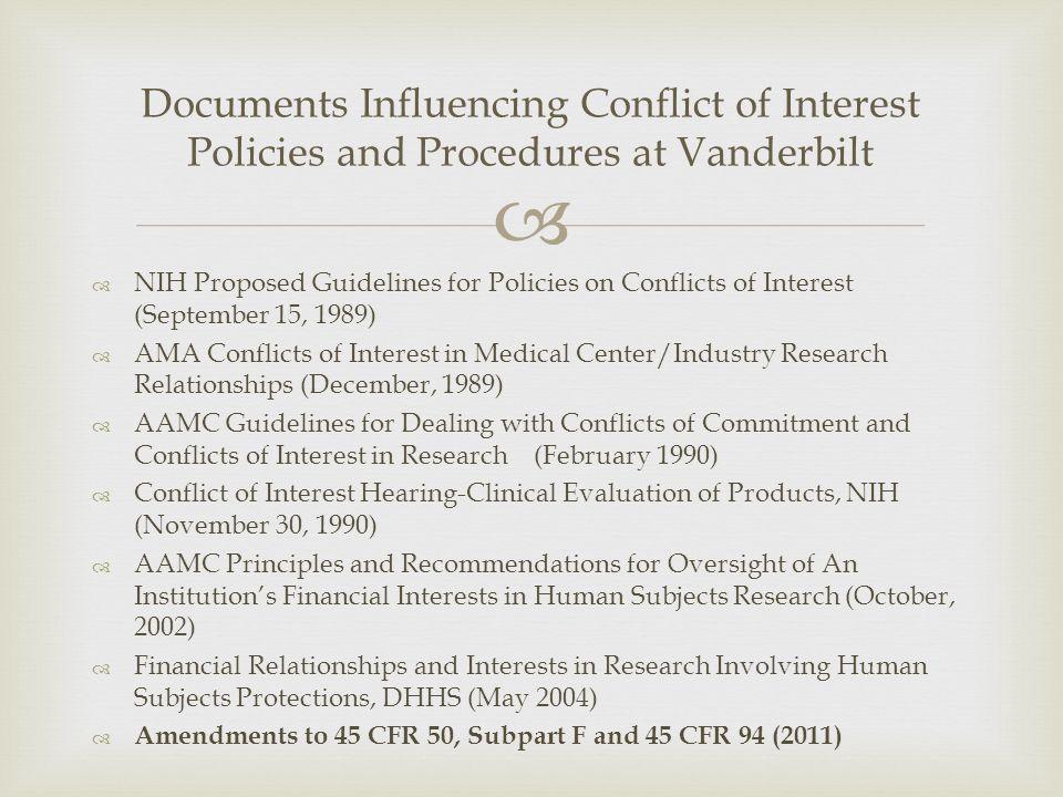 Documents Influencing Conflict of Interest Policies and Procedures at Vanderbilt