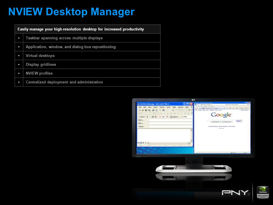 NVIEW Desktop Manager Easily manage your high-resolution desktop for increased productivity. ▪ Taskbar spanning across multiple displays.