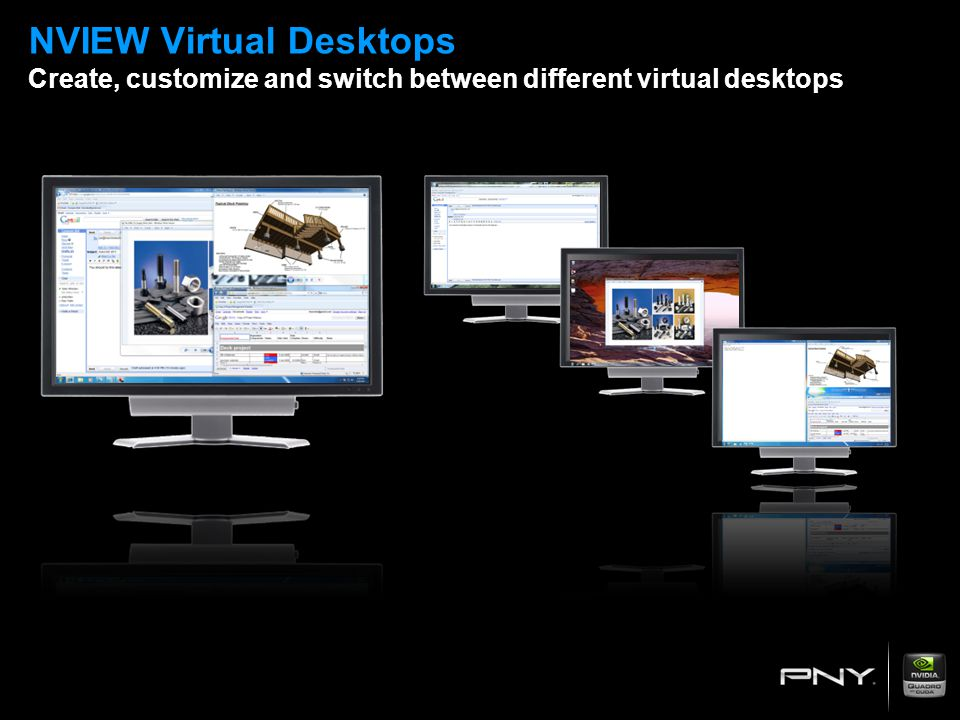NVIEW Virtual Desktops Create, customize and switch between different virtual desktops