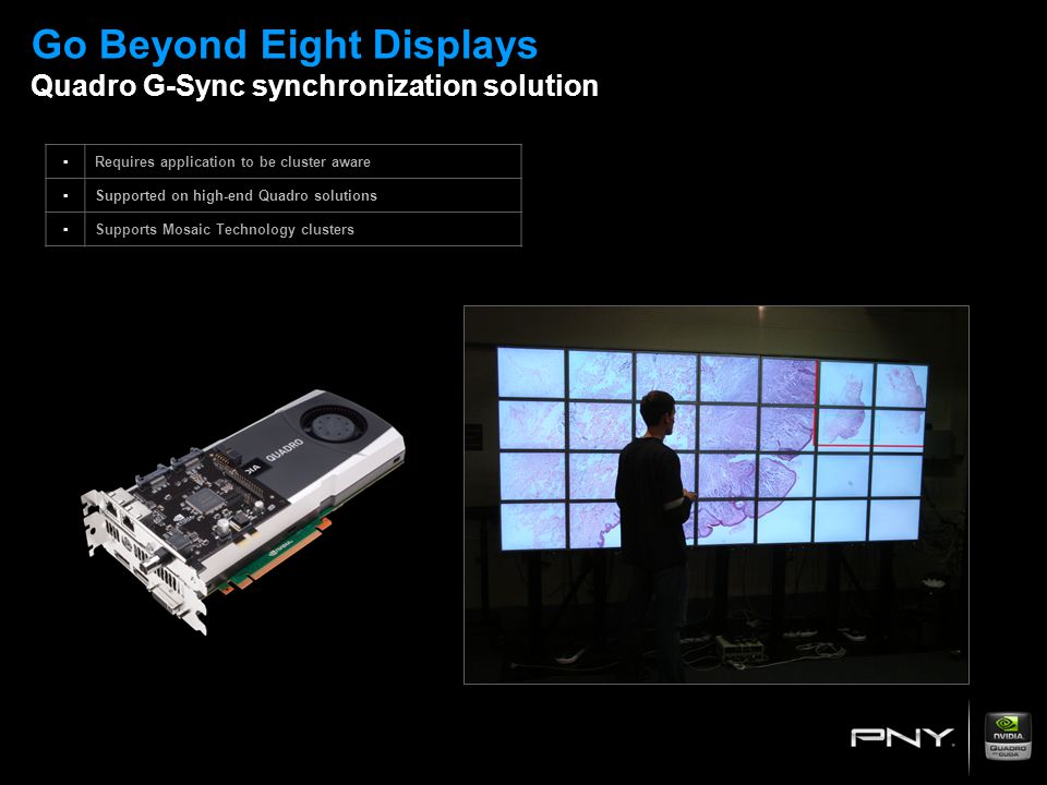 Go Beyond Eight Displays Quadro G-Sync synchronization solution