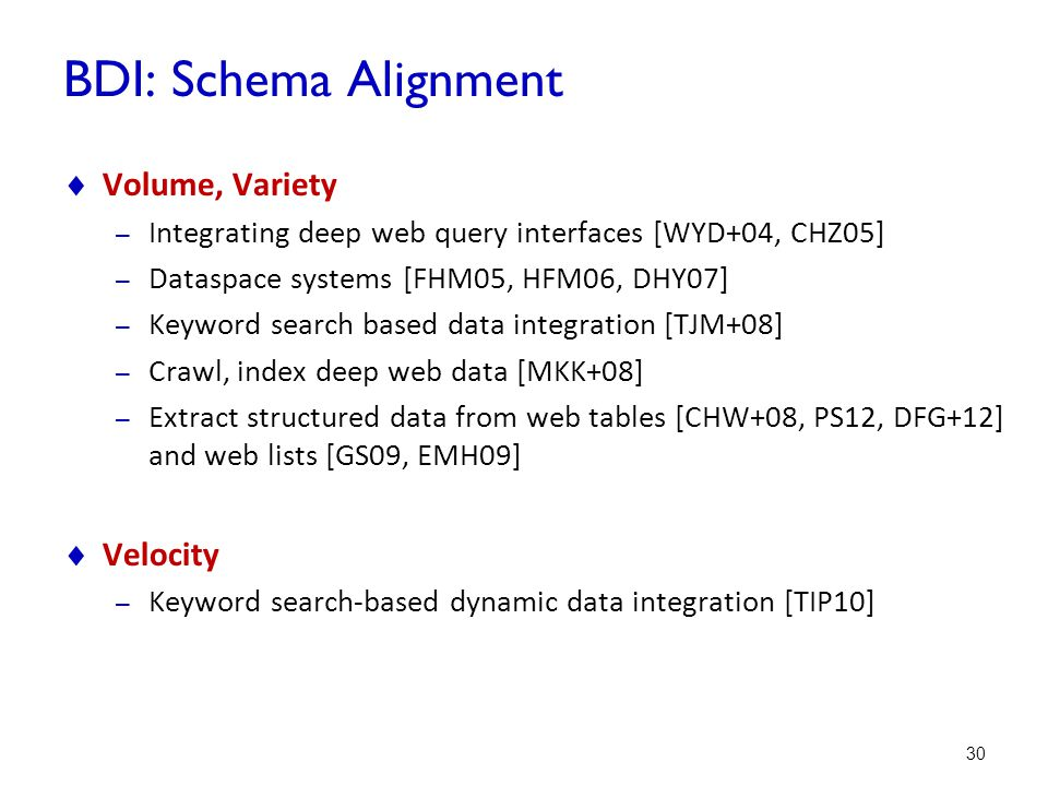 BDI: Schema Alignment Volume, Variety Velocity