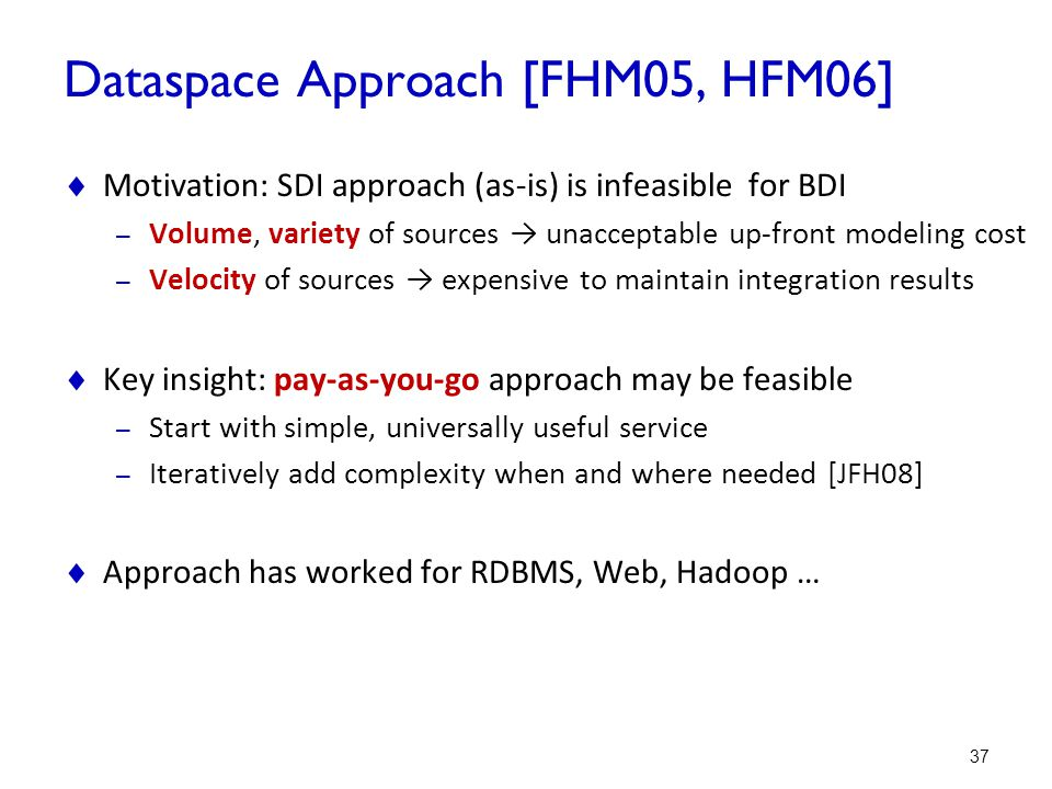 Dataspace Approach [FHM05, HFM06]
