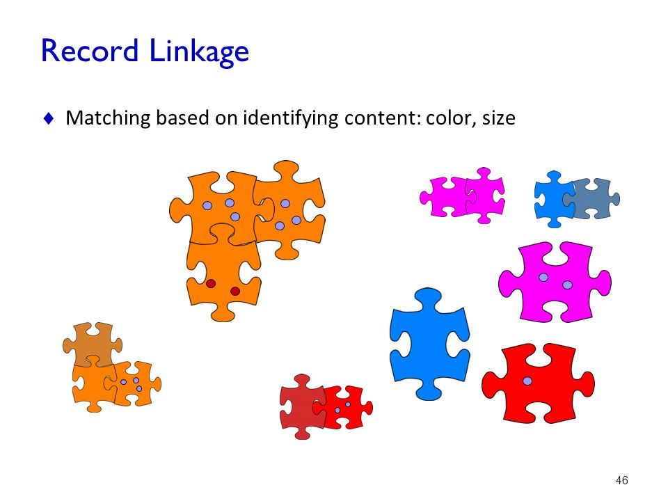 Record Linkage Matching based on identifying content: color, size