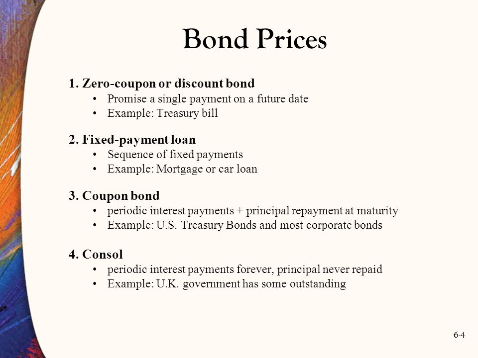 Bond Prices 1. Zero-coupon or discount bond 2. Fixed-payment loan
