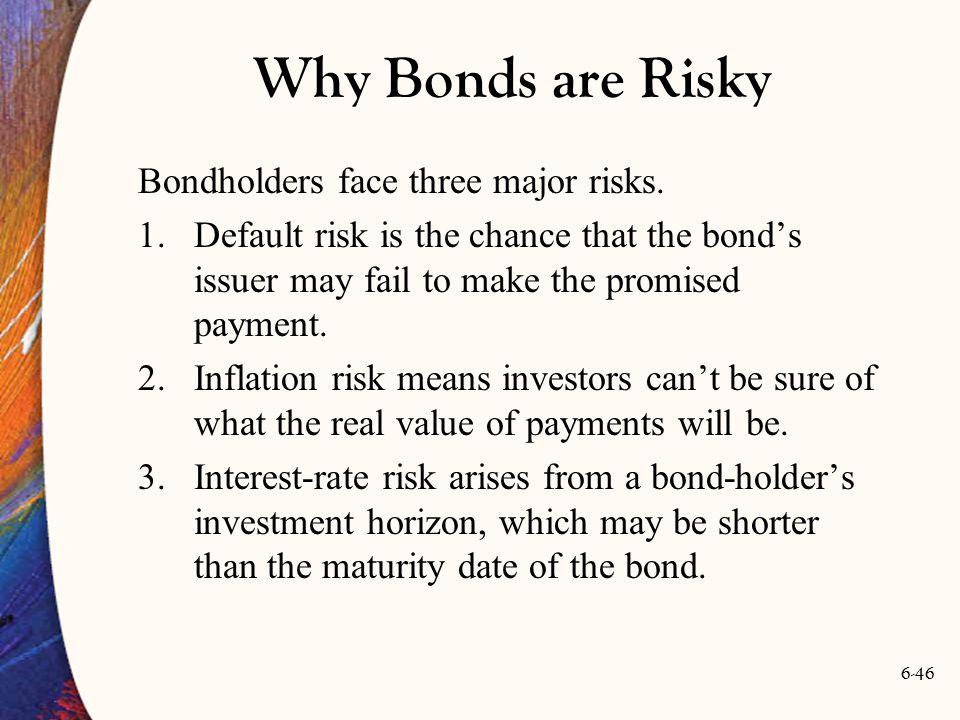 Why Bonds are Risky Bondholders face three major risks.