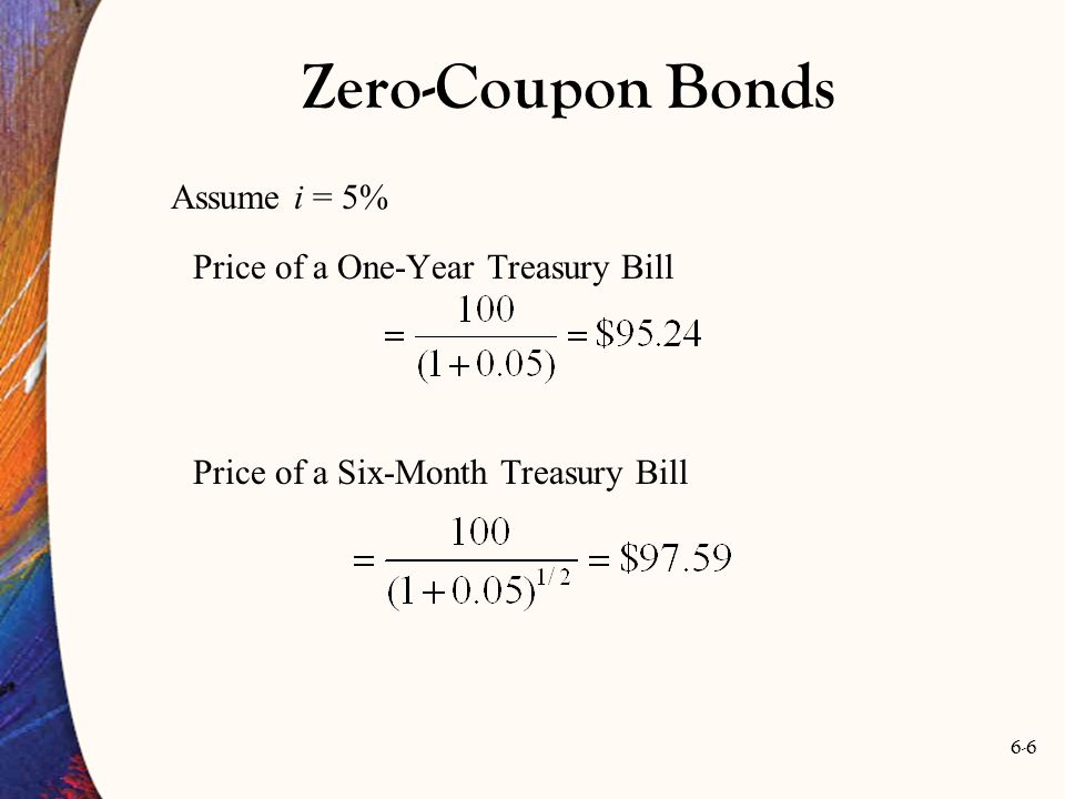 Zero-Coupon Bonds Assume i = 5% Price of a One-Year Treasury Bill