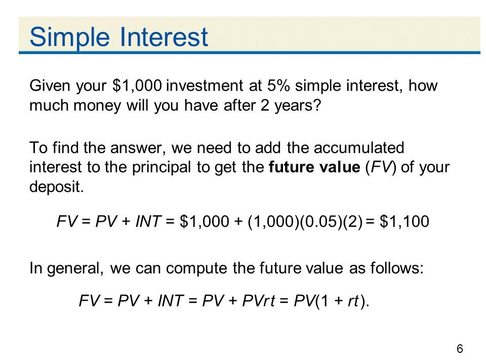 Simple Interest Given your $1,000 investment at 5% simple interest, how much money will you have after 2 years