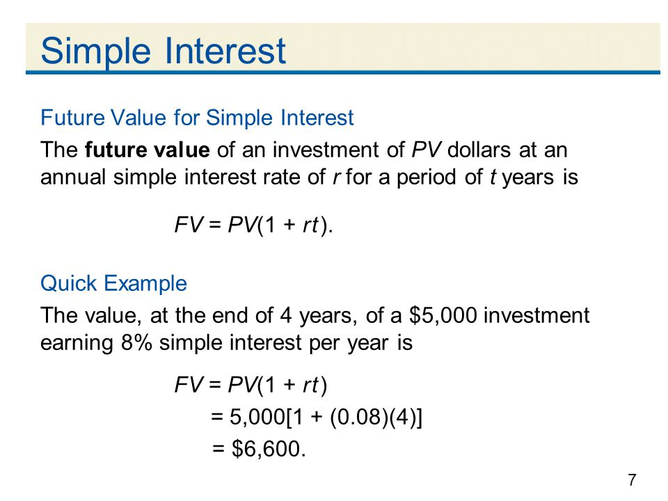 Simple Interest Future Value for Simple Interest