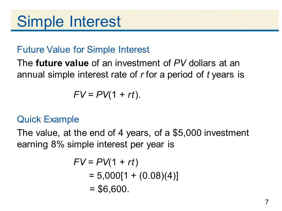 Simple Interest Future Value for Simple Interest